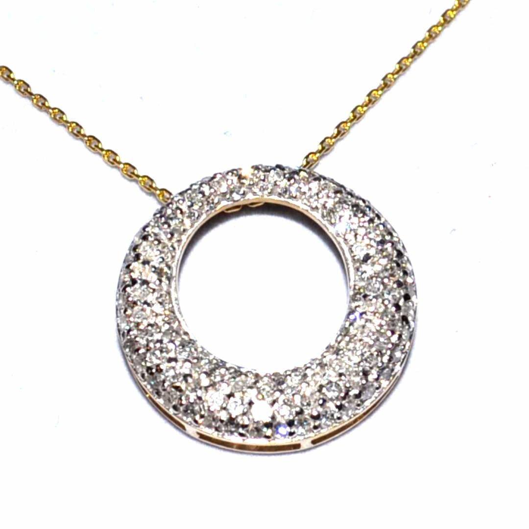 14kyg Diamond Circle Necklace 1ctw