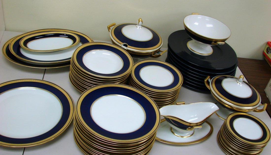 Furstenberg Cobalt & Gold Trim Fine China 58 pc.