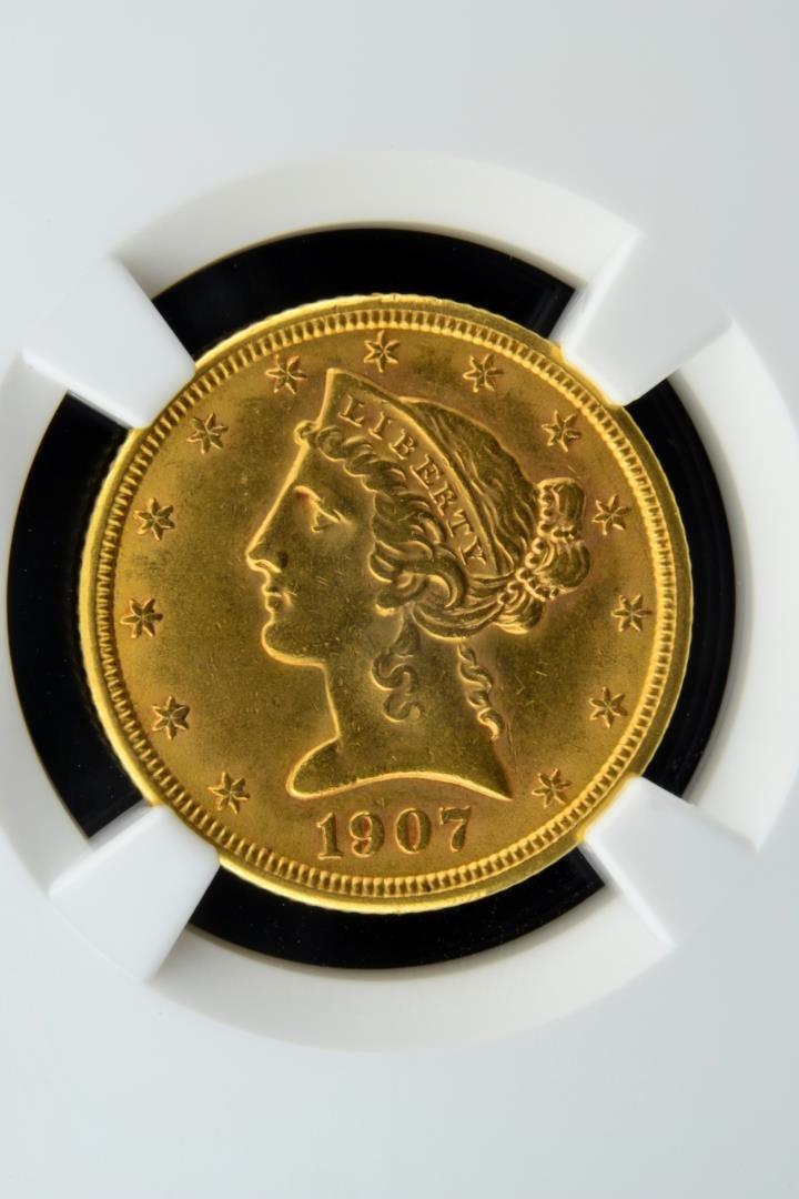 1907 $5 Liberty Head Gold Half Eagle NGC MS 61