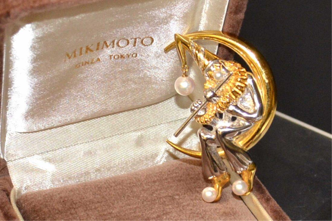 Sterling Mikimoto Clown Pin