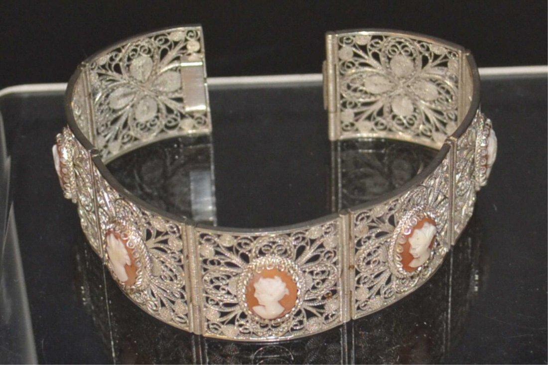 Silver Cameo Panel Bracelet