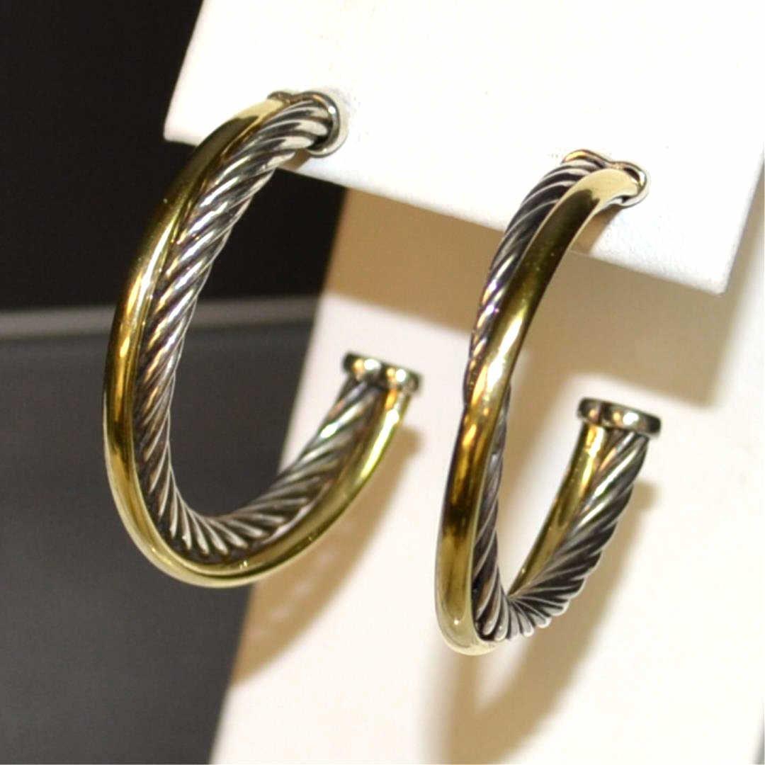 18k & Sterling Hoop Earrings David Yurman