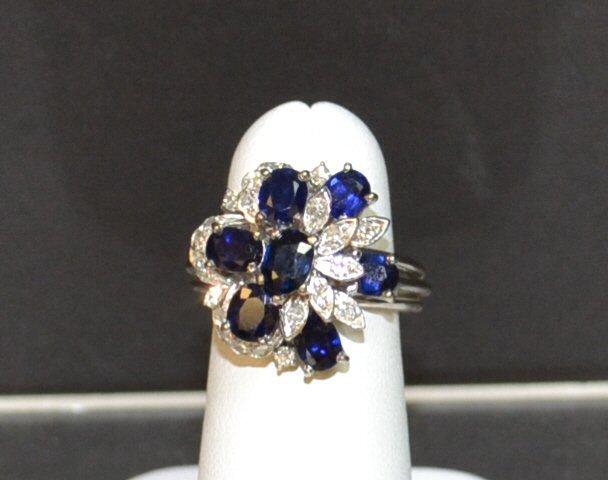 14kwg Blue Sapphire & Diamond Ring
