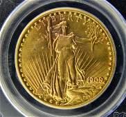 1909/8 $20 Saint Gaudens Gold Dbl. Eagle PCGS AU58