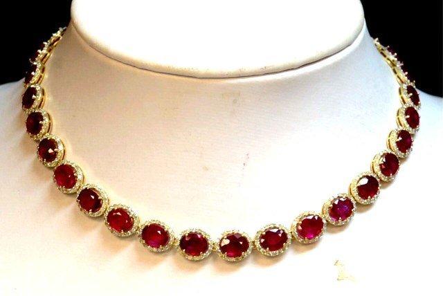 14kyg Ruby & Diamond Necklace