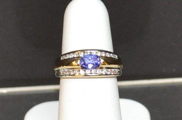 14k 2tone Tanzanite & Diamond Ring