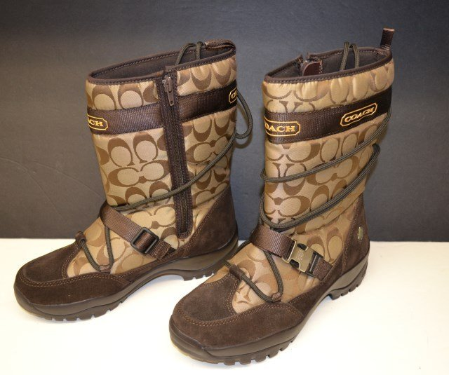Coach all-weather boots, with matching silk scarf
