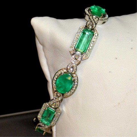 18kwg Emerald & Diamond Bracelet