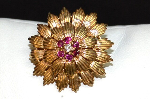 14kyg Ruby & Diamond Brooch