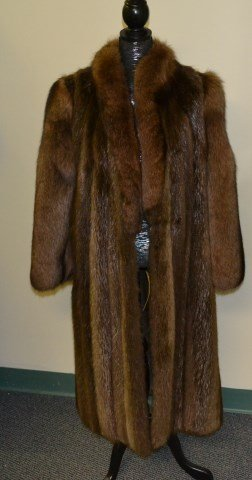 Full length beaver and fox fur coat