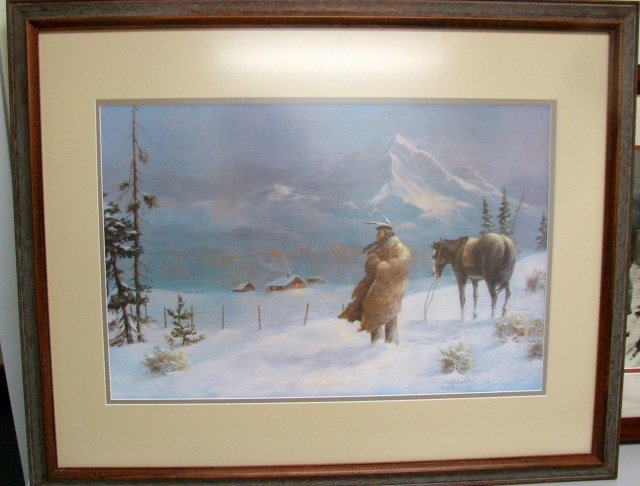 Framed Signed Print of an Indian by C.E. Breeding