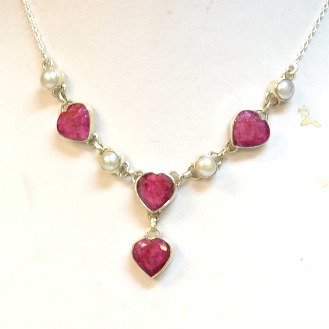 Sterling Ruby & Pearl Necklace