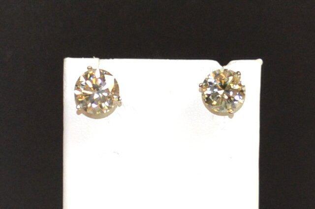 6.10ctw Round Diamond Stud Earrings L/SI2