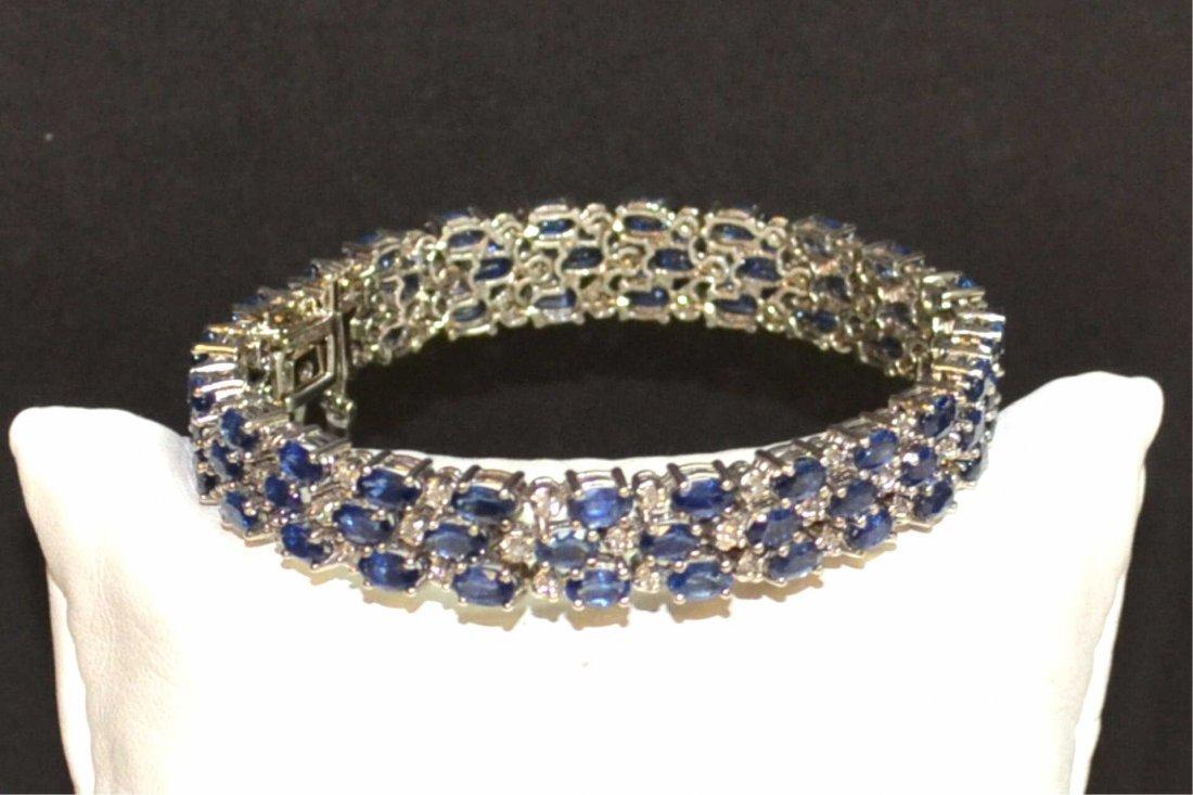 14kwg Blue Sapphire & Diamond Bracelet
