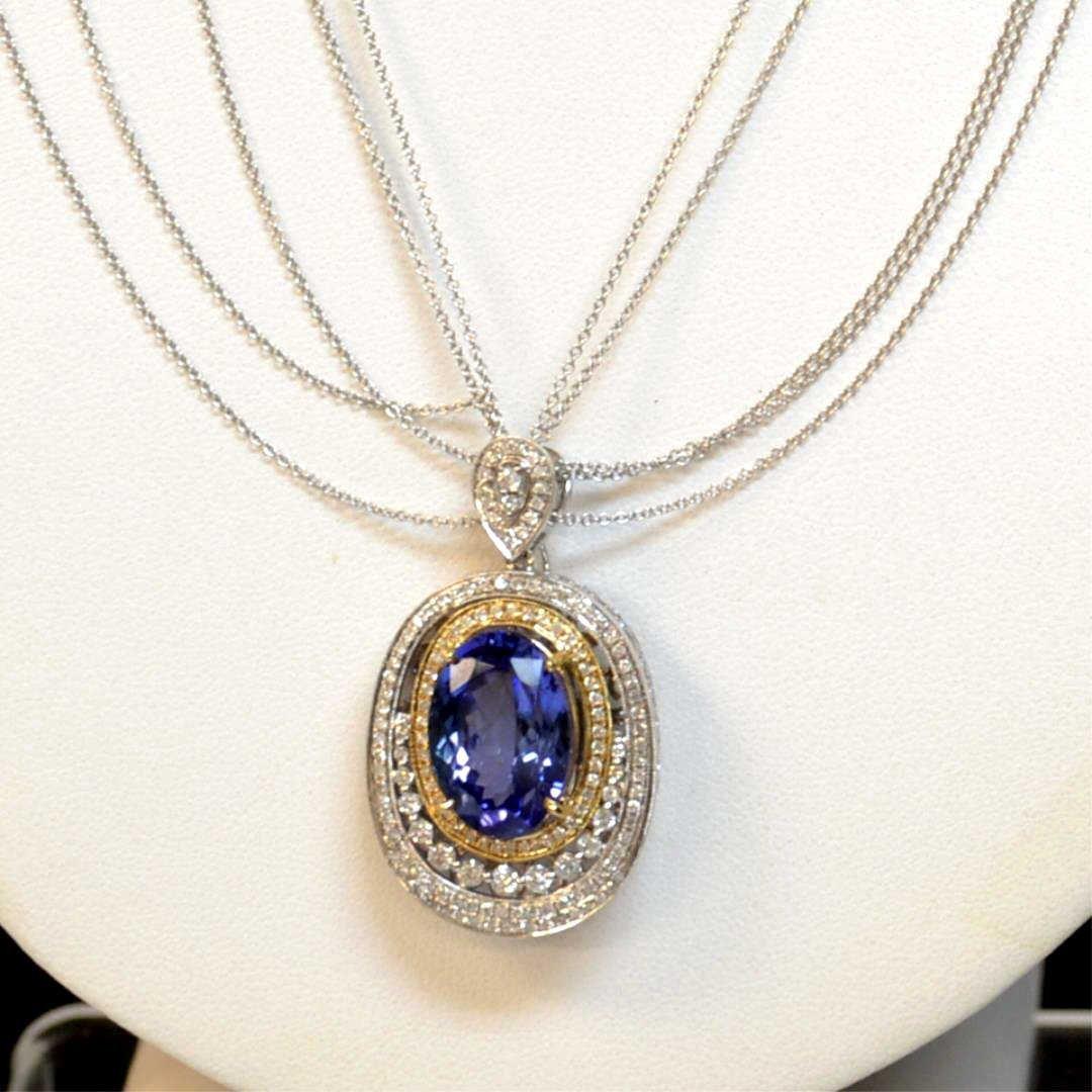 14kwg Tanzanite & Diamond Necklace 14ct