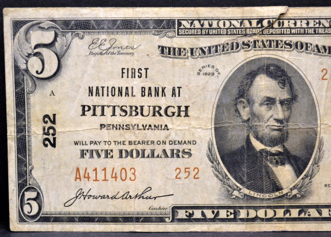 1929 $5 First National Bank at Pittsburgh, PA Fine - 2