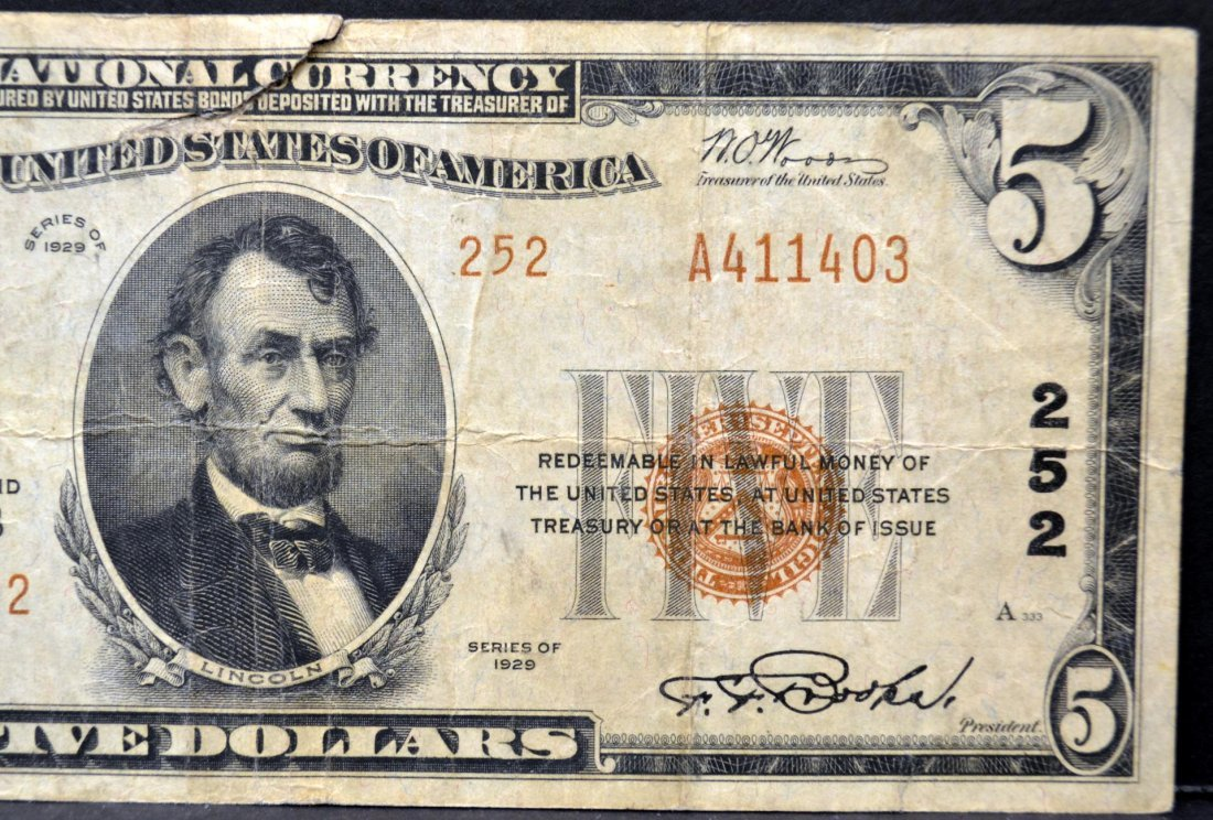 1929 $5 First National Bank at Pittsburgh, PA Fine - 3