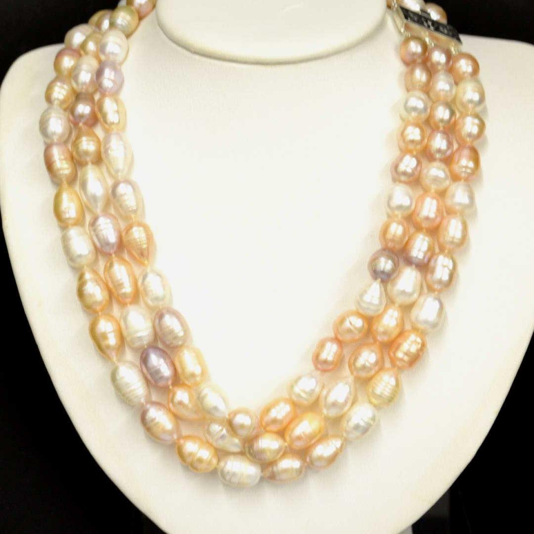 3 Strand Freshwater Semi Baroque Pearls