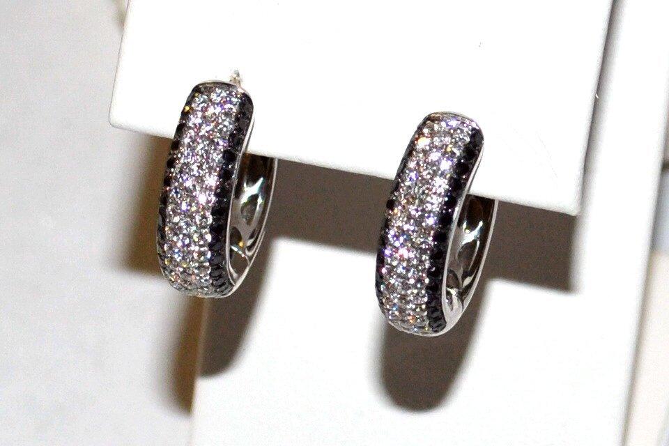18kwg Black & White Diamond Hoop Earrings