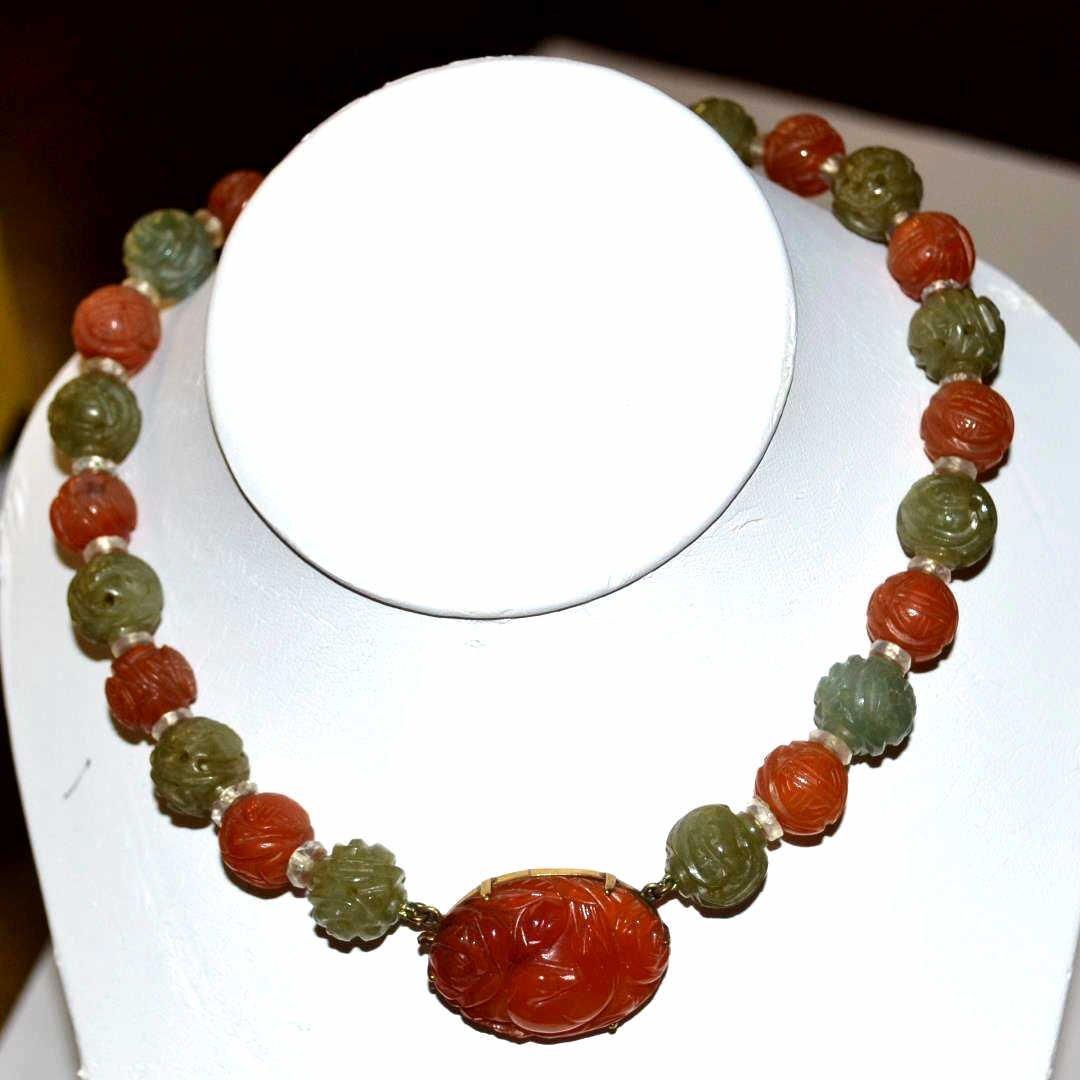 Vintage Carnelian & Jade Necklace