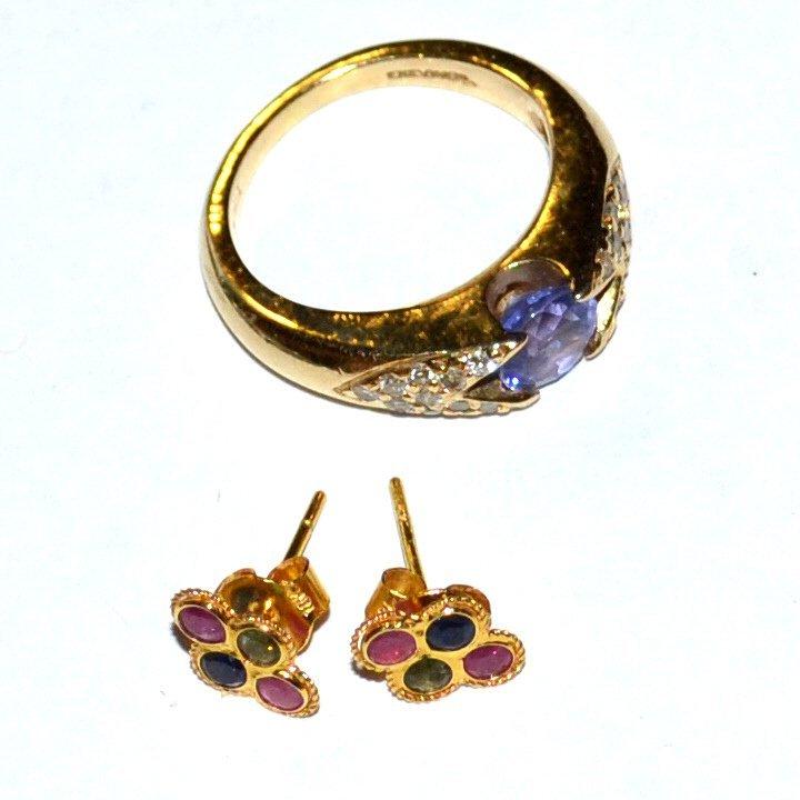 14kyg tanzanite & Diamond Ring & Earrings