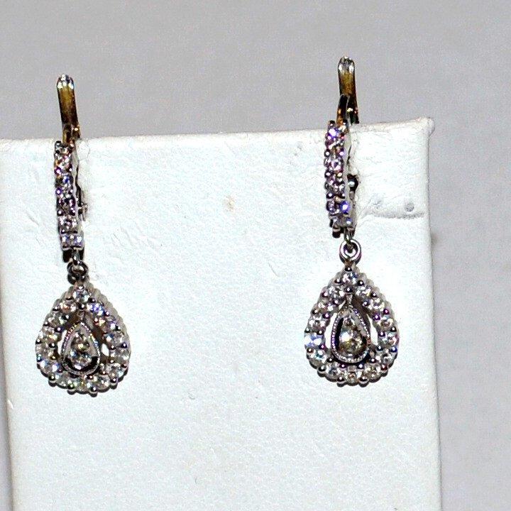 18kwg Diamond Drop Earrings