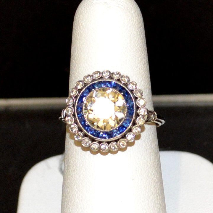 Platinum Diamond & Blue Sapphire Ring 1.88ct