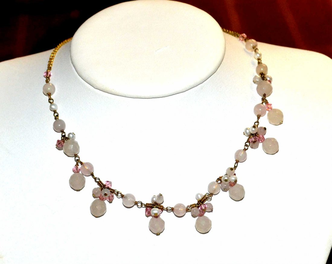 Rose Quartz Necklace, Bracelet & Earrings