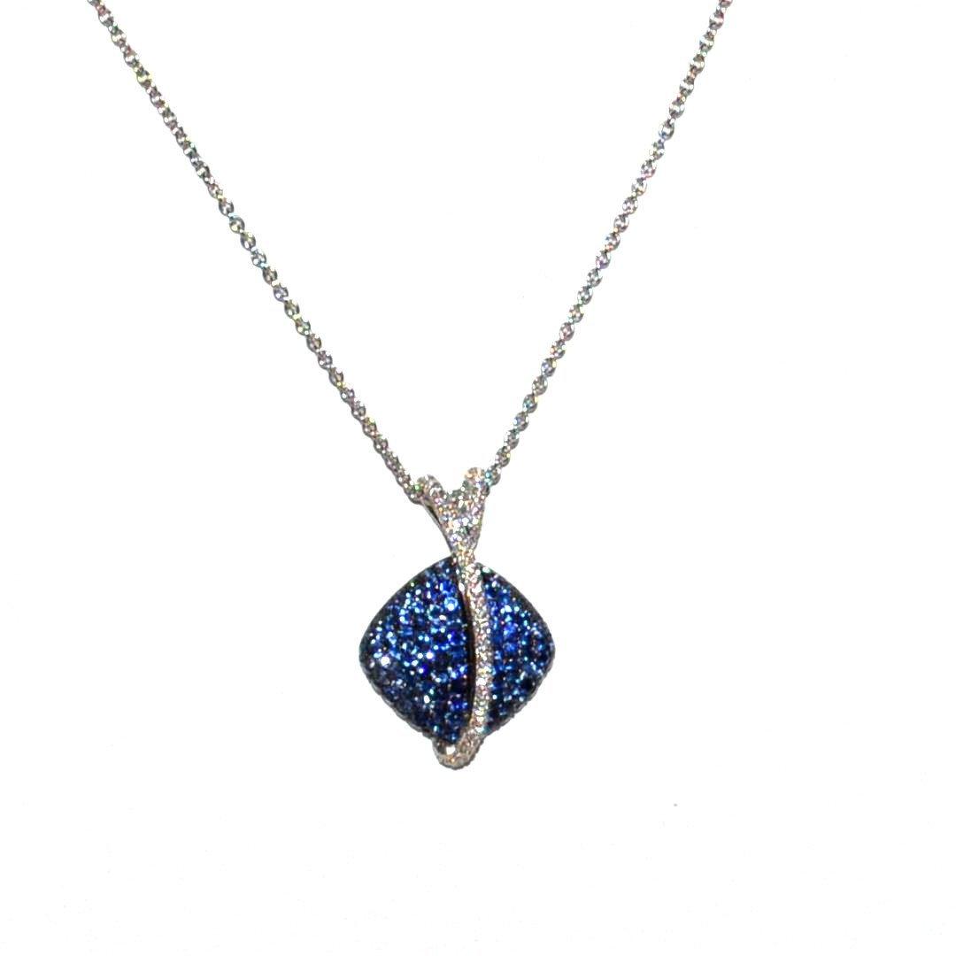 18kwg Blue Sapphire & Diamond Necklace