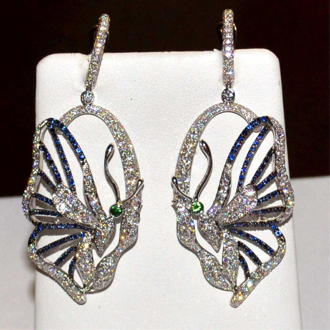 18kwg Sapphire & Diamond Butterfly Earrings