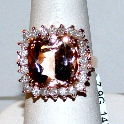 14kyg Morganite & Diamond Ring 8.46ct