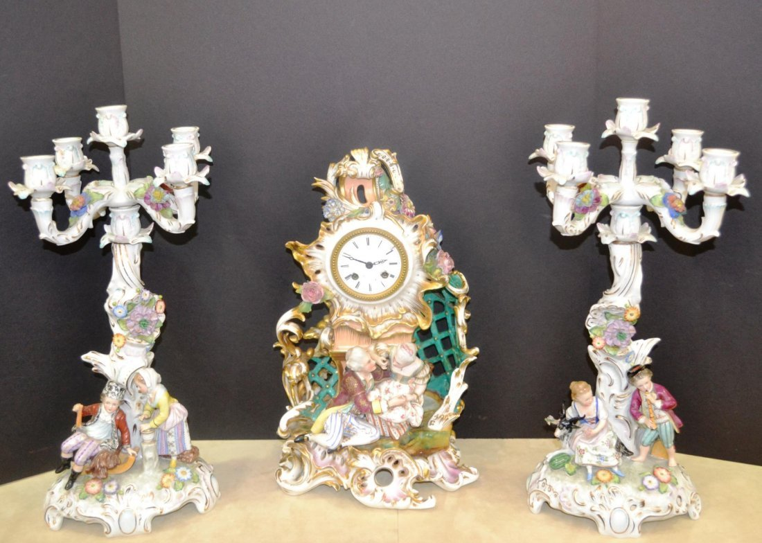 Sitzendorf clock and 2 Convertible Candelabras