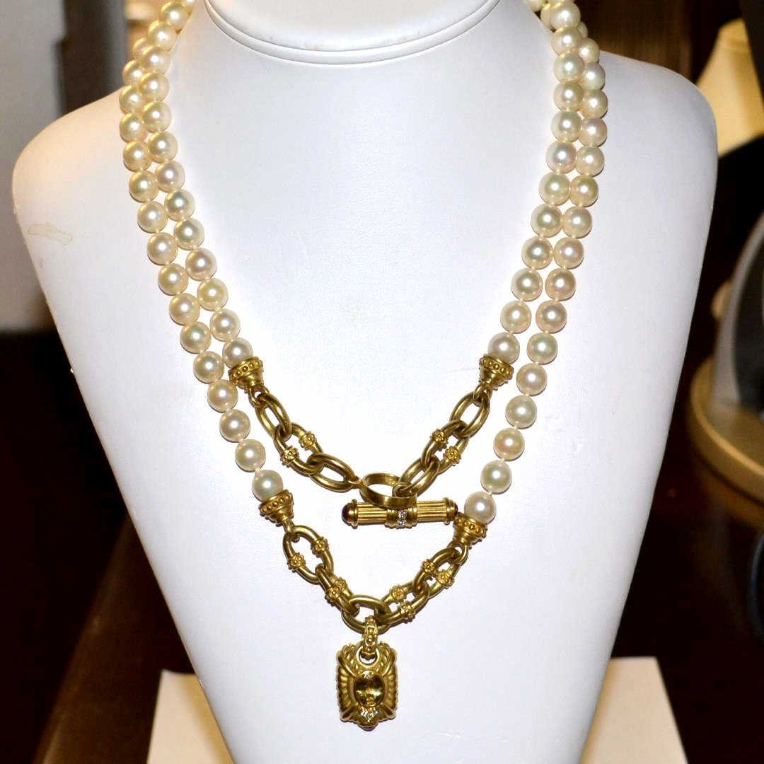 Judith Ripka 14kyg & Pearl Etruscan Necklace