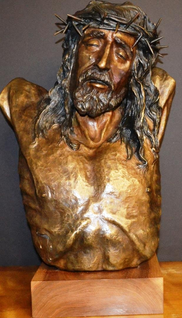 Bronze bust of Crucified Christ