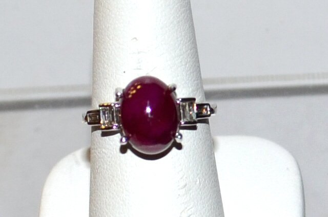14kwg Cabochon Ruby & Diamond Ring 6.12ct