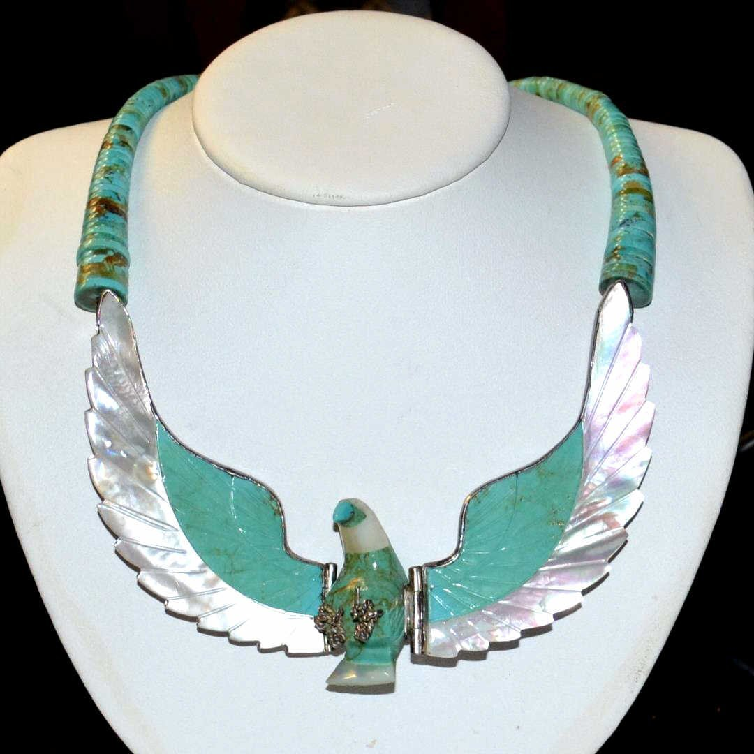H. Spencer Turquoise & Sterling Eagle Necklace