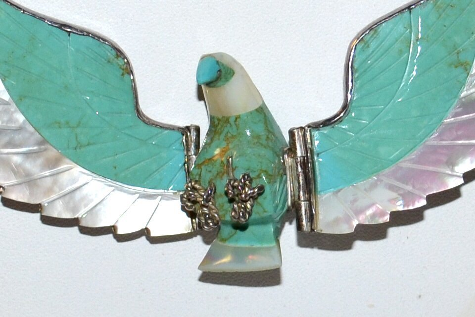 H. Spencer Turquoise & Sterling Eagle Necklace - 2
