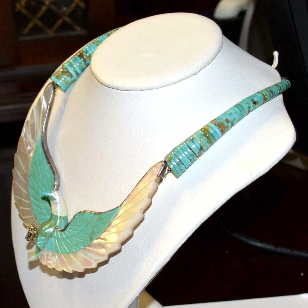 H. Spencer Turquoise & Sterling Eagle Necklace - 3