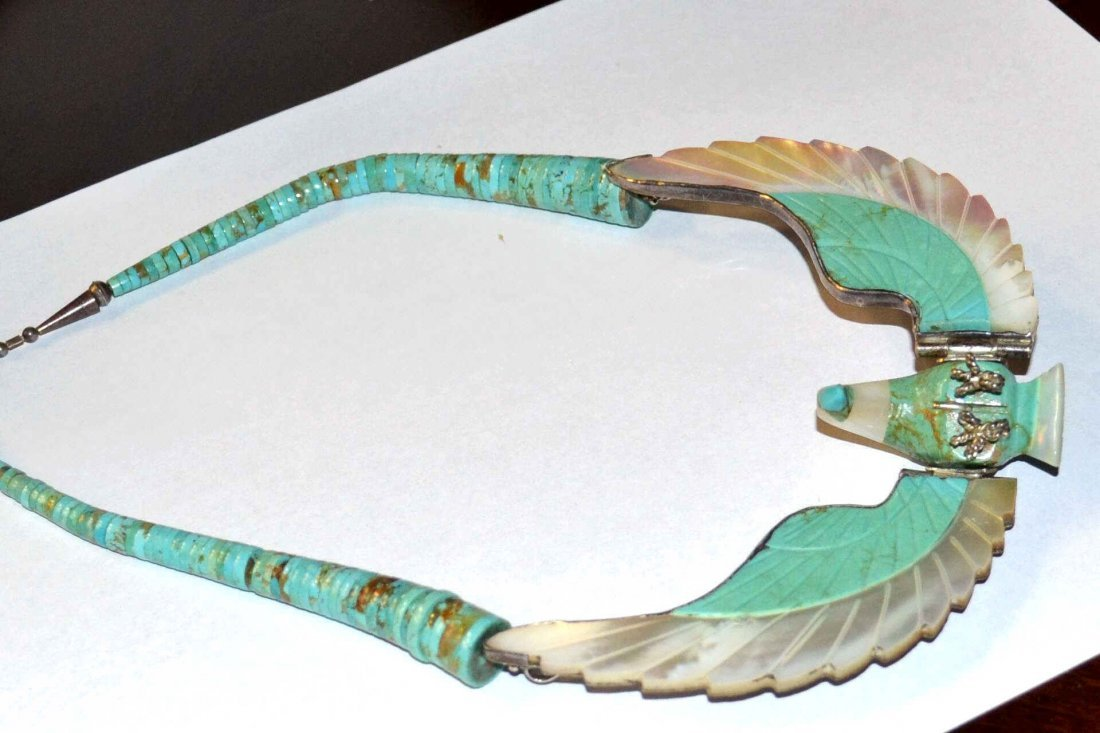 H. Spencer Turquoise & Sterling Eagle Necklace - 4