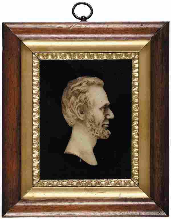 Stunning Abraham Lincoln Wax Profile Bust Presentation