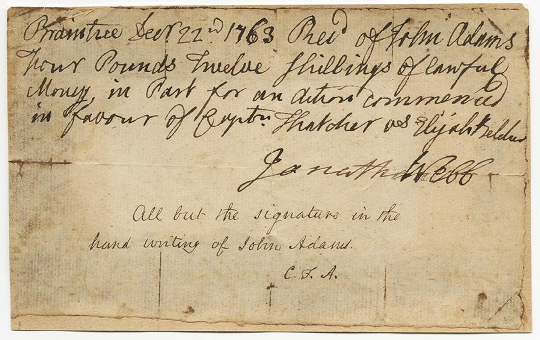 John Adams Signed Payment Receipt for Lawsuit