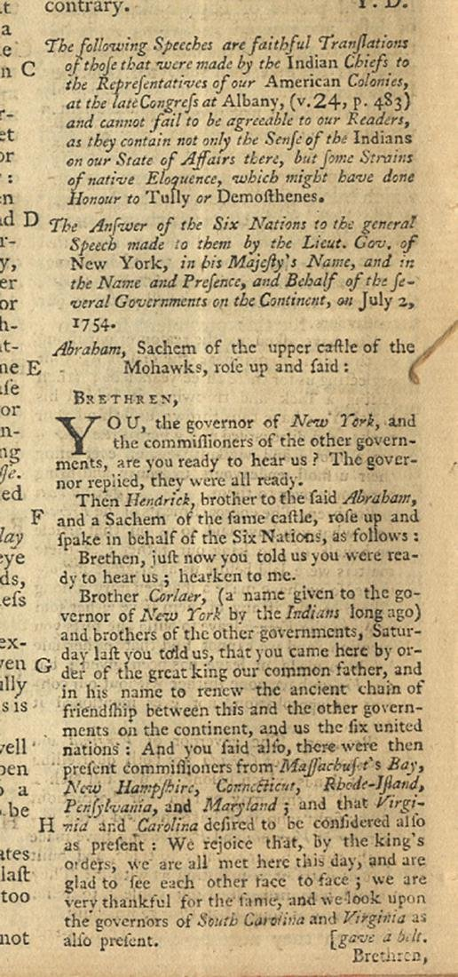 The American Indians Address the British Controlled