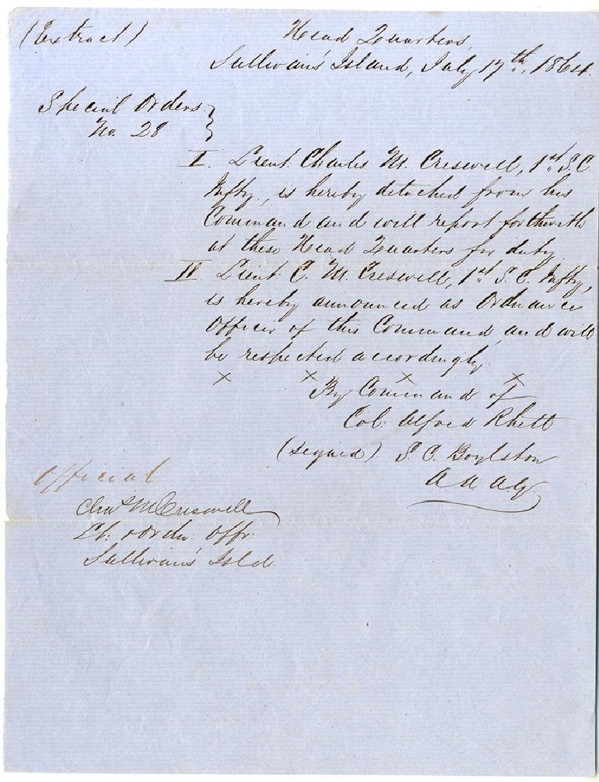 Special Order Issued Under The Authority Of Colonel