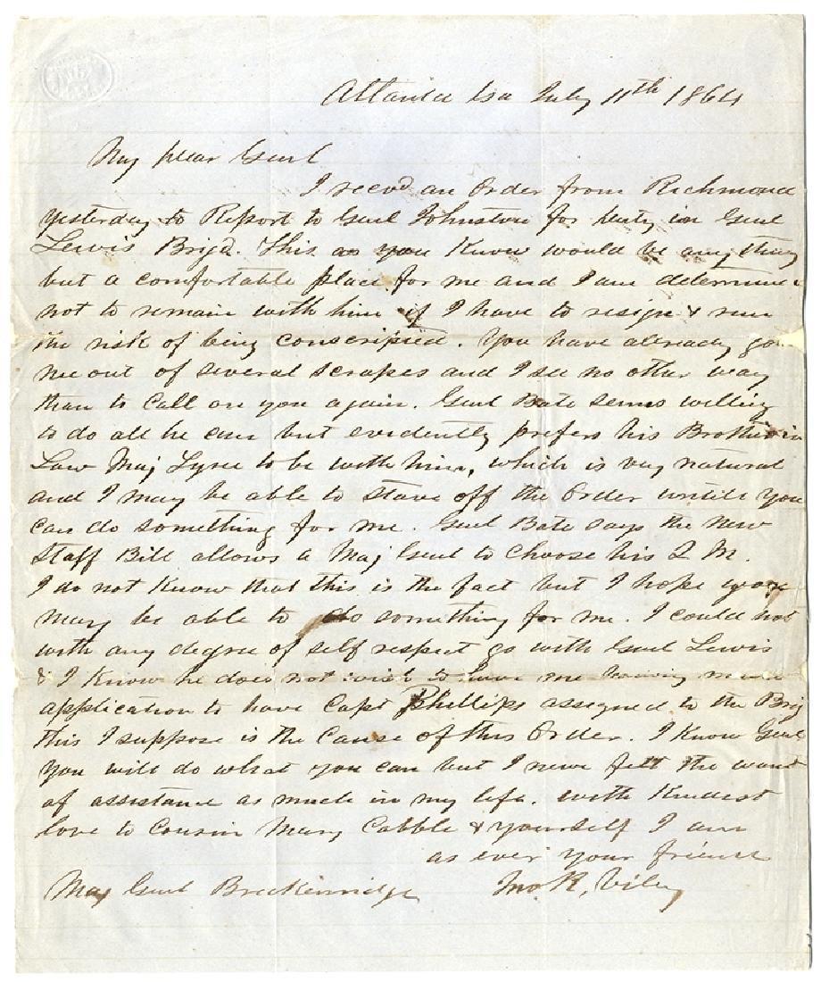 Major Viley Seeks General Breckinridge's Help In