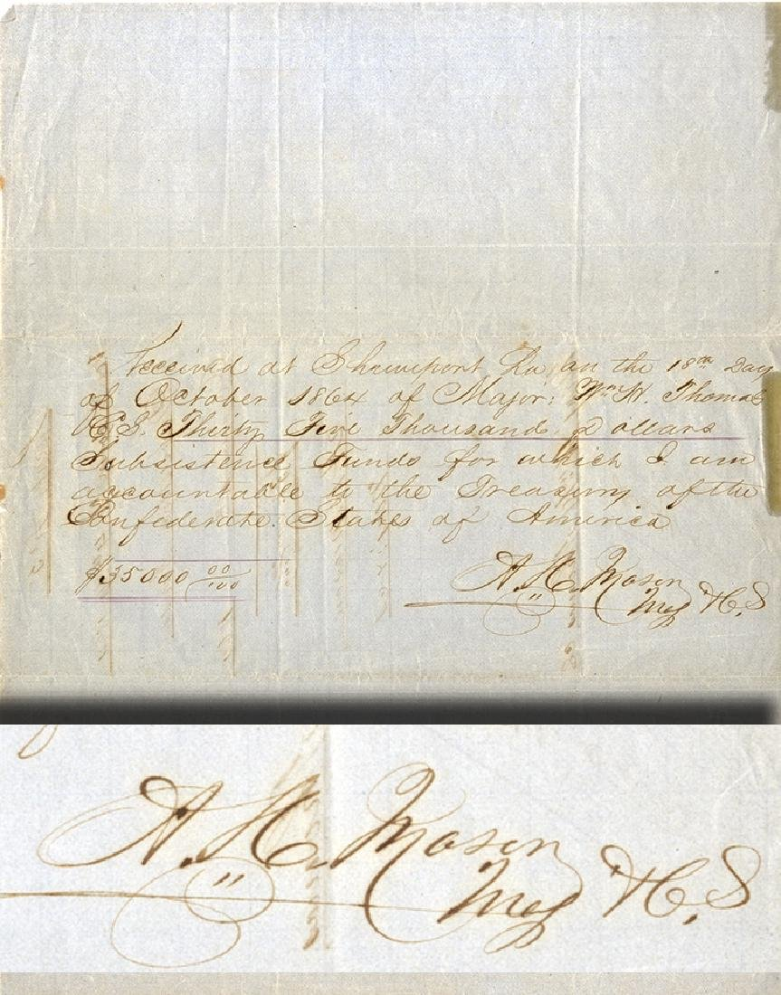 Signs Receipt For $35,000 In Louisiana