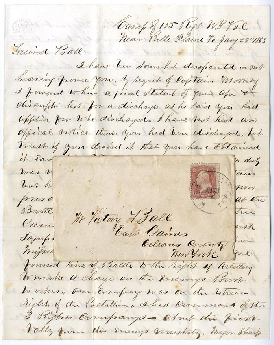 Battle of Fredericksburg Letter - 105th N.Y. Vol. -