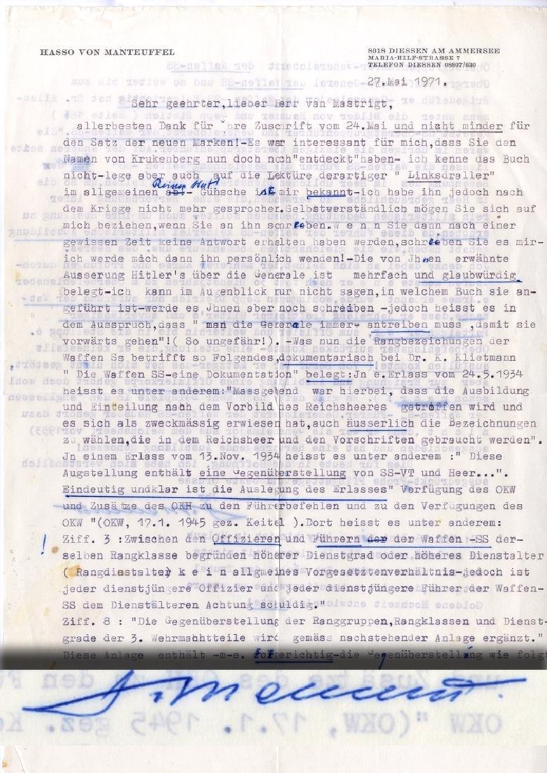 Former Nazi General Letter