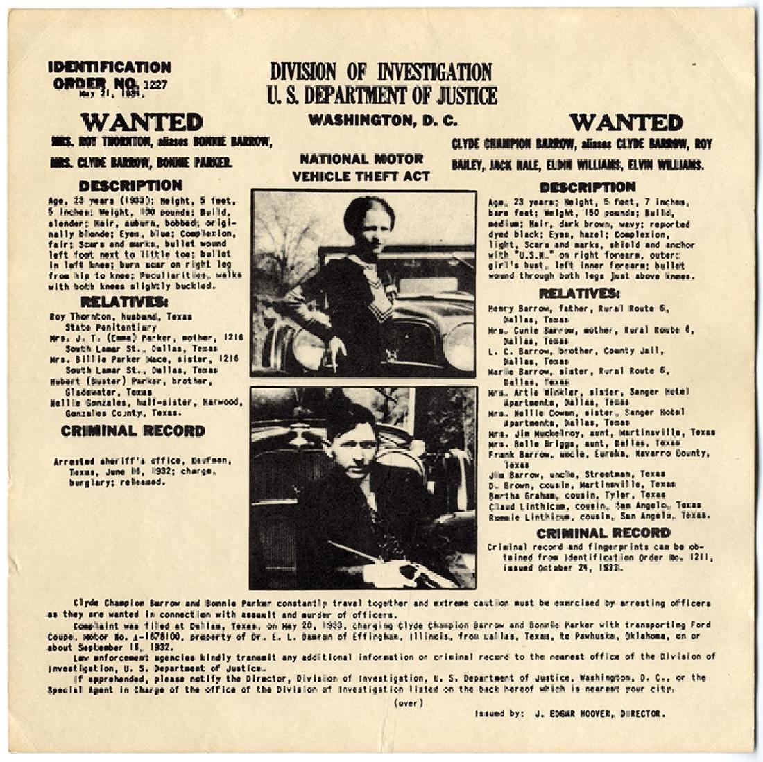 Bonnie & Clyde FBI Card