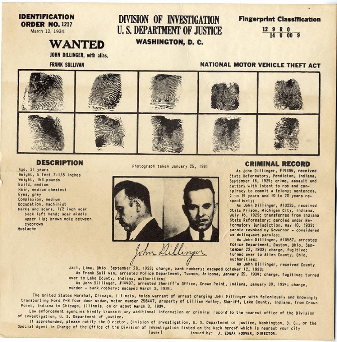 Dillinger FBI Card