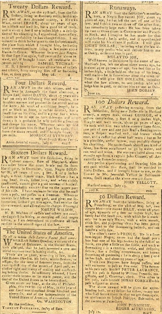 Lot of 3 Baltimore newspapers with runaway slave ads